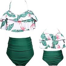 63f18022b7 KABETY Girls Swimsuit Two Pieces Bikini Set Ruffle Falbala Swimwear Bathing  Suits