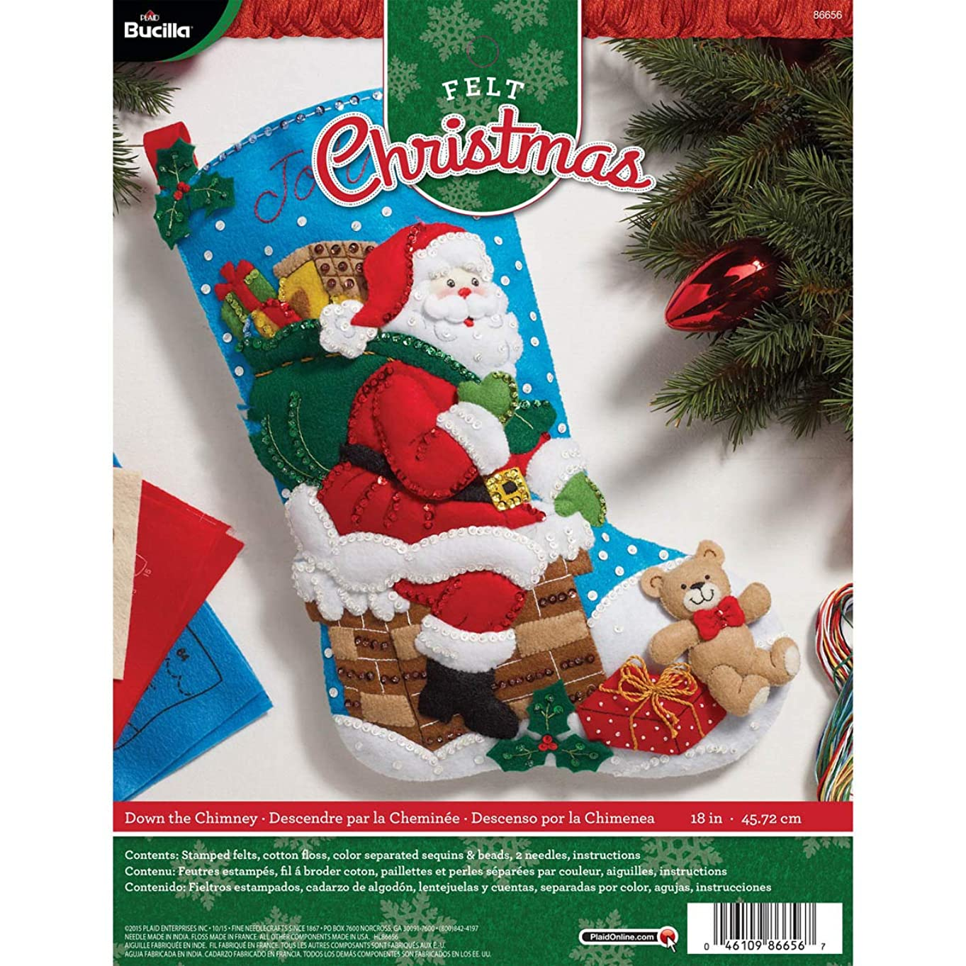 虐殺求める混乱Bucilla 18-Inch Christmas Stocking Felt Applique Kit, 86656 Down The Chimney by Bucilla