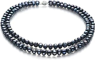 Eliana Black 6-7mm Double Strand A Quality Freshwater Cultured Pearl Necklace for Women