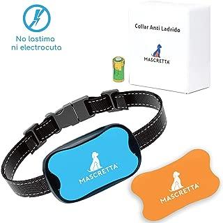 MASCRETTA Collar Antiladrido A-V2 para Perro o Cachorro. Collar de Entrenamiento amigable para educar el ladrido con Vibración y Sonido Que no daña a tu Mascota. Anti Barking Collar. (Naranja y Azul)
