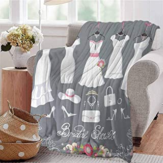 SSKJTC Travel Throw Blanket White Wedding Dress with Bride Details Bags Florals Print White Pink and Charcoal Grey Couch Bed Napping Reading Recliner W40 xL60