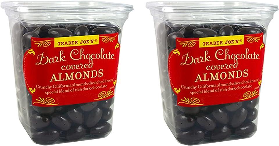 Trader Joe's Dark Chocolate Almonds Crunchy California Almonds Drenched in Rich Dark Chocolate no gluten or sodium (Two Pack)