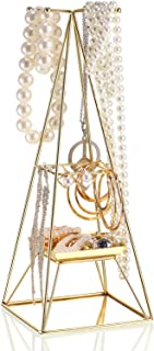 Gold Plated Pyramid A-Line Jewelry Rack Stand Organizer Holder with Tray for Earrings Necklace Jewelry Hanging Supplies Home Decor (Style C)