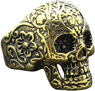 Vintage Gothic Praying Skull Skeletone Stainless Steel Biker Ring Jewelry Men Women