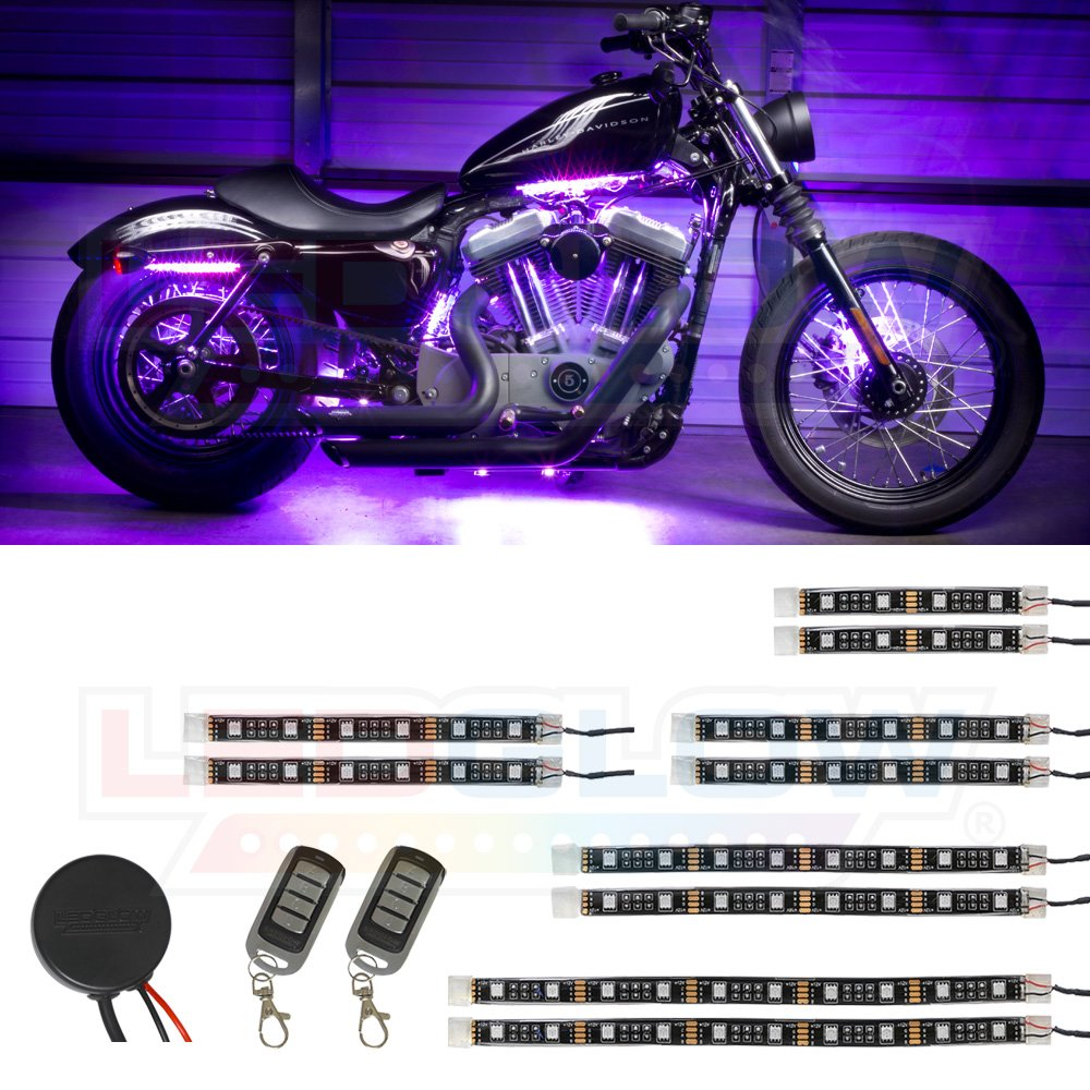 LEDGlow 10pc Advanced Purple LED Motorcycle Accent Neon Underglow Lighting Kit - 4 Patterns - 4 Brightness Levels - Flexible Light Strips - Includes Waterproof Control Box & 2 Wireless Remotes