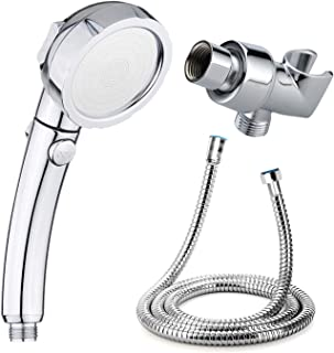 High Pressure Shower Head and 1.5 m (59IN) extended Long Stainless Steel Hose and Shower Holder,Handheld Shower Head with ON/Off Pause Switch 3-Settings Water by Nosame