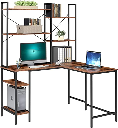 Schreibtisch Computertisch mit 6 Ablagen PC-Tisch Bürotisch Gaming Tisch Arbeitstisch Eckschreibtisch Holz Metall für Büro Office Gaming im…