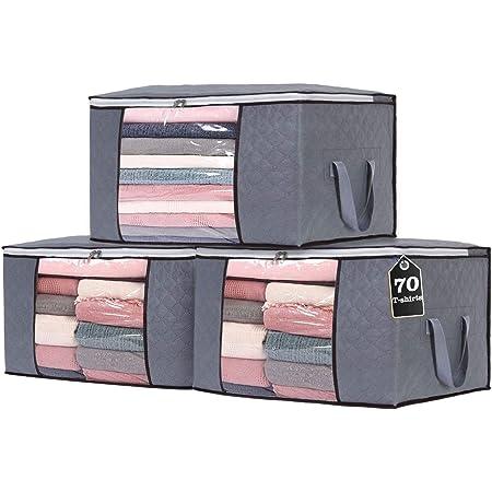 Yopih Sac de Rangement Vêtements en épais Non-tissé Sac de Rangement sous lit pour Couette Édredons Couvertures Oreillers Jouets Vestes