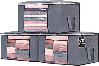 Gris Sac Boite Rangement sous Lit Vetement Pliable Zebbyee Sac de Rangement Vetement Lot de 4 pour Couette V/êtements /Édredons Couvertures Oreillers avec Fen/être Transparente