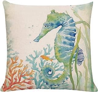 GTEXT Ocean Beach Outdoor Throw Pillow Covers Turtle Crab Decorative Sea Coastal Theme Decor Cushion Square Pillowcase 18x18 Seahorse Decorations for Patio Couch Sofa,Marine Animals