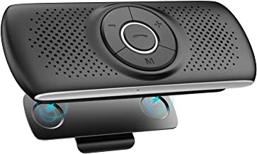 AGPTEK Bluetooth Car Speakerphone, Bluetooth 4.2 Hands Free Car Kit with 3W Loud Speaker, Visor Clip, Built-in TF Card Slot, Microphone, Support Siri and Google Assistant for Android iOS