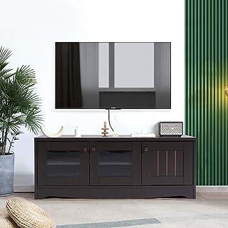FurnitureR Soporte de TV moderno de madera con estantes de 2 niveles y 3 puertas, consola de almacenamiento de medios, gab...
