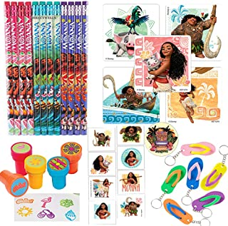 Another Dream Disney Moana Party Favor Pack Supplies Themed Pack Includes Pencils, Stickers, Stampers, Tattoos, and Keychains