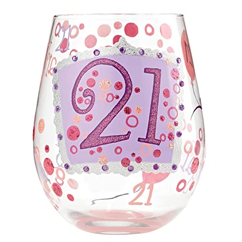 Designs By Lolita 21 Hand Painted Artisan Stemless Wine Glass 20 Oz