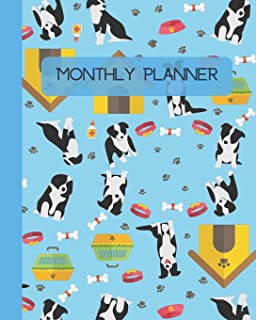 Monthly Planner: Dogs - Blue Cover 8x10