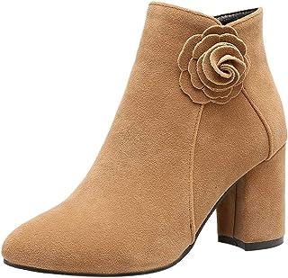 MisaKinsa Women Elegant Block Heel Short Boots Zipper