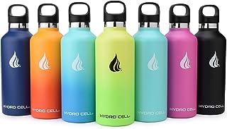 زجاجة مياه HYDRO CELL من الفولاذ المقاوم للصدأ مع مصاصة وأغطية فم قياسية - تحافظ على السوائل ساخنة أو باردة تمامًا مع جدار...