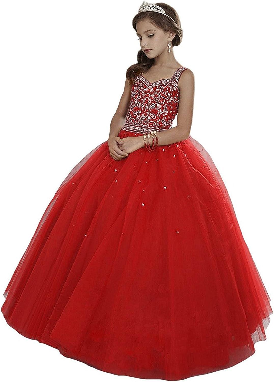 Wenli Girls' Max 75% OFF Sheer Neck Rhinestones Dresses store Beaded Pageant