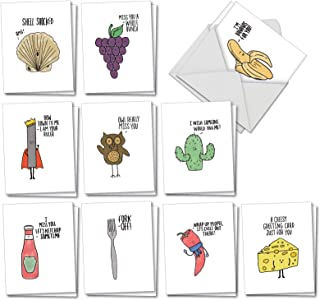 Fun Puns - 20 Fun Blank Note Cards with Envelopes (4 x 5.12 Inch) - Boxed Assortment of All-Occasion Funny Pun Cards - Humorous Greeting Notecard Set (2 Each, 10 Designs) AM2975OCB-B2x10