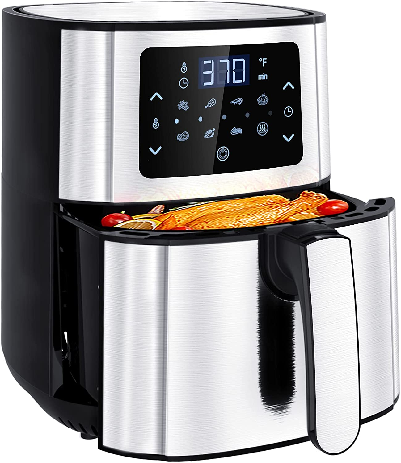 Nebulastone Air Fryer, 6 Quart Air Fryer Oilless Oven with 72 Recipes, Up to 400℉, 7 Cooking Functions, Temperature and time Control Function, LED Touch Screen, for Families of 3-8 People, Nonstick & Easy Clean, ETL Certified