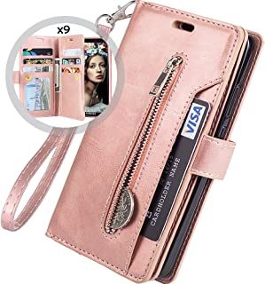Galaxy S9 Wallet Case for Women/Men,Auker Trifold 9 Card Holder Folio Flip Leather Zipper Wallet Case with Strap&Cash Pocket Shockproof Full Body Protective Magnet Purse Case for Samsung S9 (RoseGold)