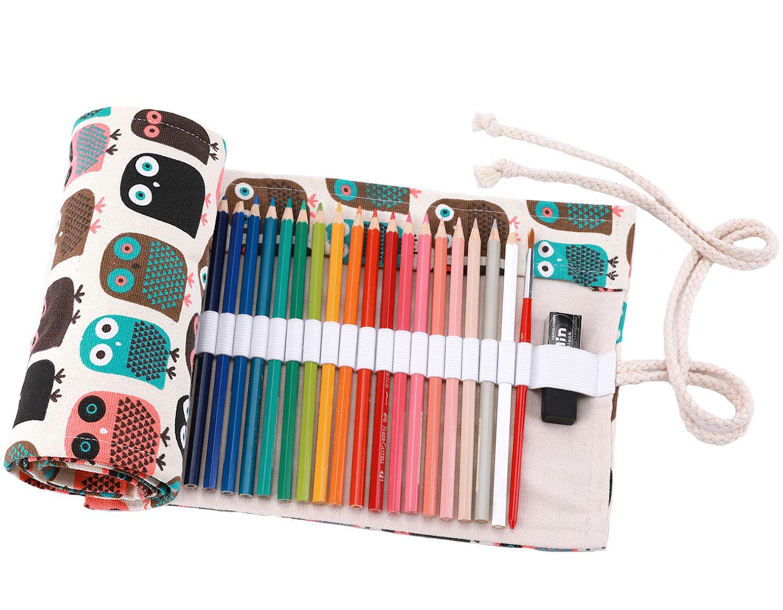 Abaría - Bolso para lápices, Grande Estuche Enrollable para 72 lapices Colores, portalápices de Lona, Bolsa Organizador lápices para Infantil Adulto, Lindo búho 72: Amazon.es: Electrónica