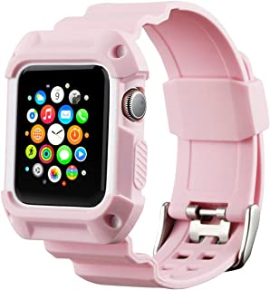 Compatible with Apple Watch Band with Case 42mm, MAIRUI Rugged Protective G Shock Replacement Wristband for Apple Watch Series 3/2/1, iWatch Nike+/Sport/Edition (Pink)