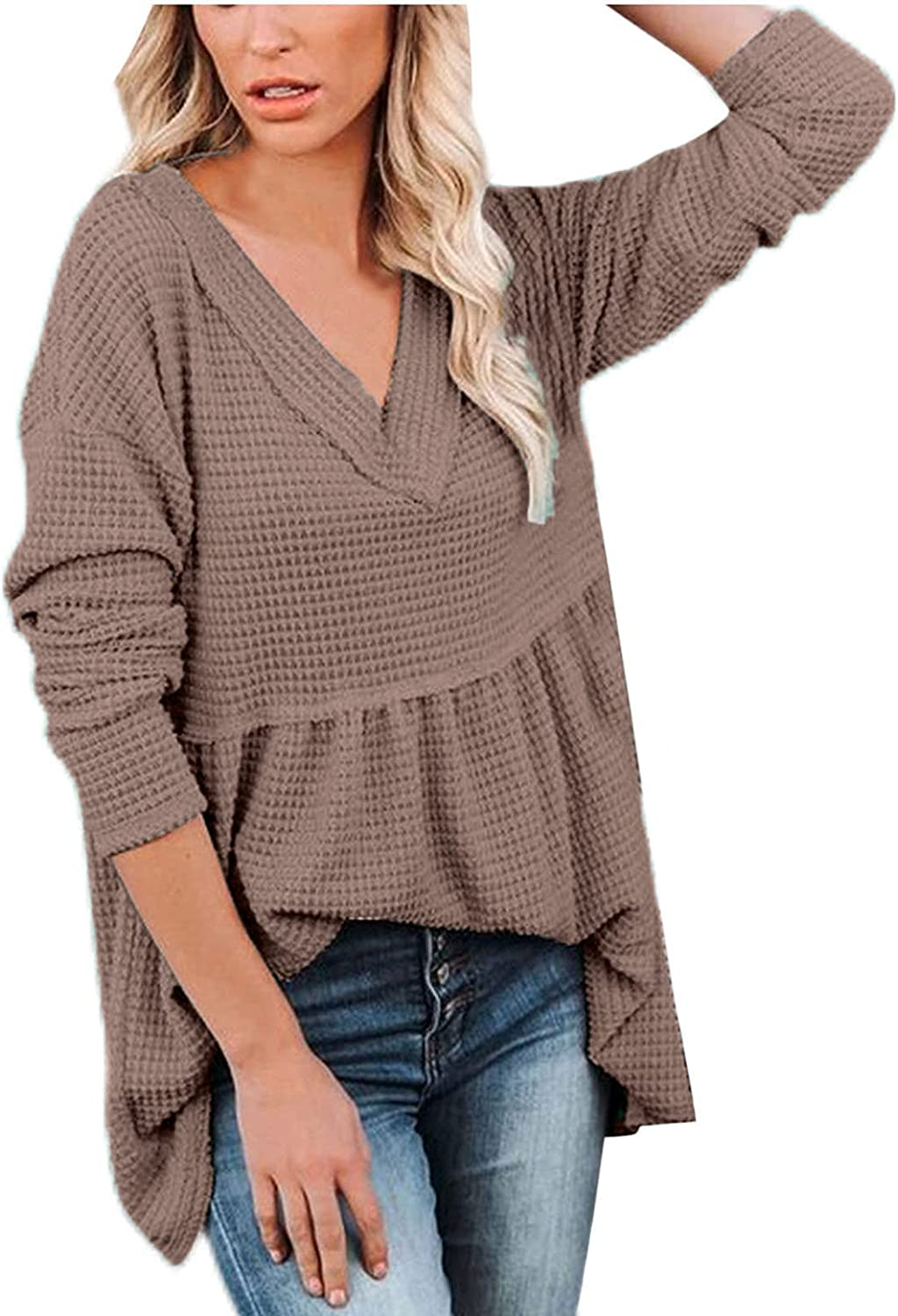 Sweaters for Women Long Sleeve Fall & Spring Clothes Deep V Neck Knit Jumper Casual Swing Pullover Plain Going Out Tops