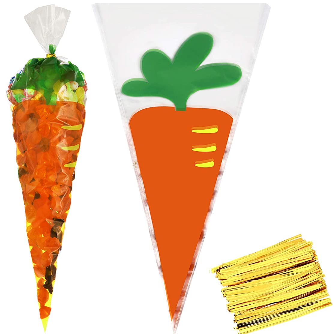 Yaomiao 100 Pieces Easter Cellophane Bags Bunny Pattern Plastic Treat Bags Carrot Goody Bags with Gold Twist Ties for Easter Party Supplies (Style 2)