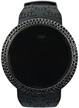 Techno Pave Iced Out Bling Lab Diamond Black on Black Digital Touch Screen Sports Smart Watch with Rubber Silicone Band