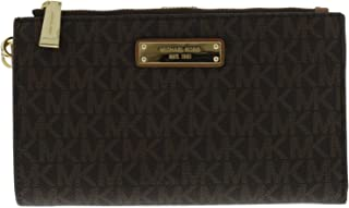 Adele Double-Zip Wristlet 7+ Brown One Size