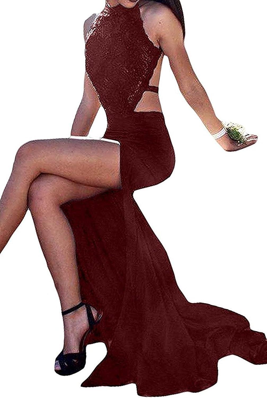 Ellystar Women's Halter Beading Sleeveless Backless with Mermaid Formal Dresses