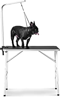 Rhomtree Foldable Pet Grooming Table with Adjustable Grooming Arm for Small Dog Durable Heavy Duty