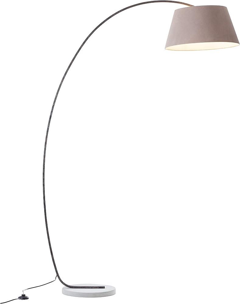 Elegante lampada ad arco con piedistallo, 1,9 x 1,2 m, 1 attacco da e27, massimo 60 watt in cemento, metallo e LB00001410
