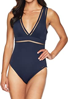 Women's Solids Wrap Shirred Neck One-Piece w/Ladder Insert & Removable Soft Cups