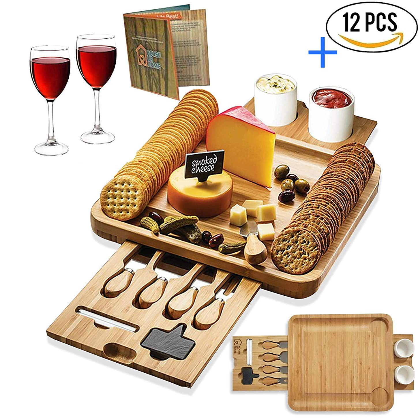 Bamboo Cheese Board Wooden Two Ceramic Bowls Two Magnet Drawers Serving Platter Cutlery Server Knife Set and Slate Labels and Markers Gift Idea for Birthdays, Wedding Registry, Housewarming