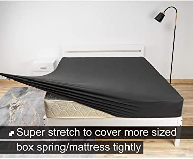 Stretch King Fitted Sheet Only - Jersey Knit & Ultra Soft Bed Sheet, 4 Way Stretchy Fit Mattress (Deep or Shallow Pocket,