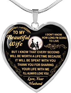 to My Beautiful for Wife Luxury Silver Heart Shape Necklace Love You from Husband Birthday Anniversary Graduation Wedding Holiday Going Away Gift Black Quotes