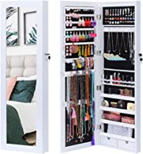 KING BIRD Jewelry Organizer 15 LEDs Light Lockable Jewelry Armoire Storage Holder Box Door Wall Mounted Jewelry Cabinet with Full Length Mirror and 2 Drawers