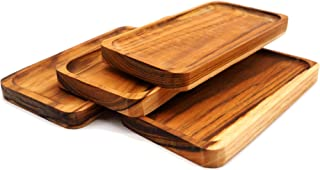 Teak Wood Rectangle Coasters Set of 4 for Drinks, Appetizers, Potters and Home Decor for Table and Bar Protection – 6.25 x...