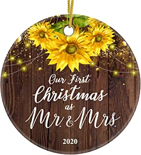 Best JUPPE Our First Christmas As Mr & Mrs 2020 Ornament Mr & Mrs Newlywed Decoration Romantic Couples Gift (Brown-3) Reviews