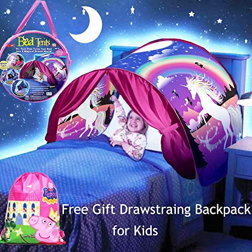 Elebaby Deluxe Kids Bed Tent Unicorn Fantasy Funny Play Pop Up Indoor Foldable