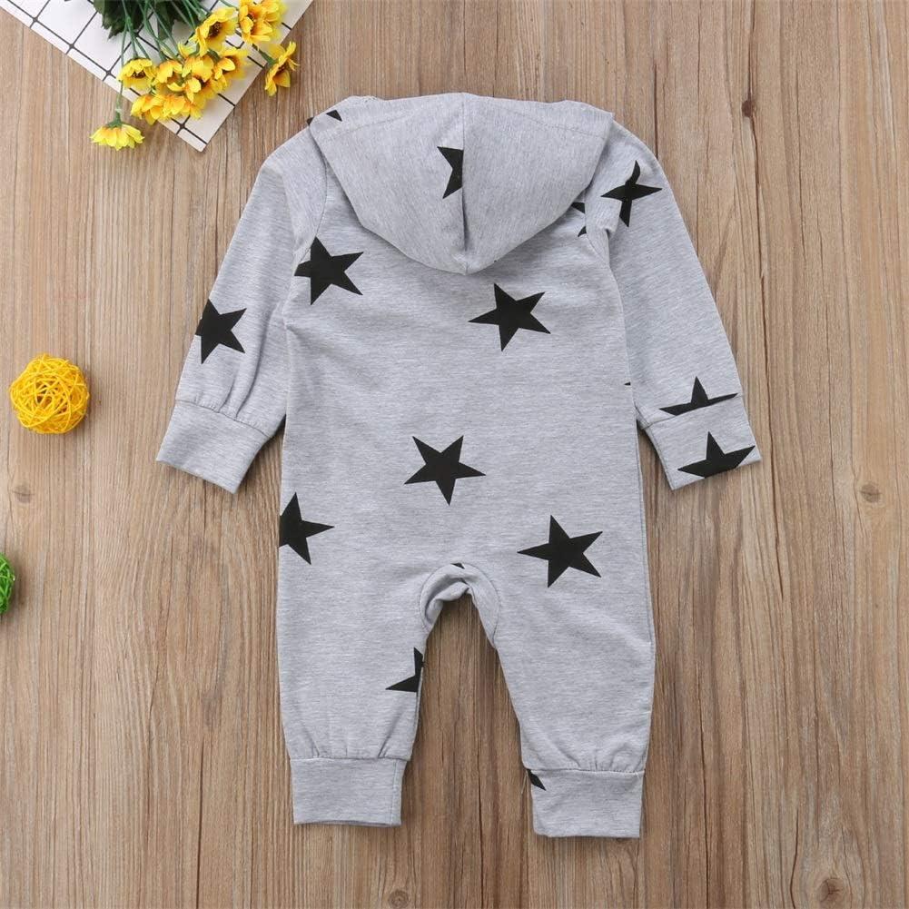 Carolilly Newborn Baby Long Sleeve Hooded Romper Sleepwear//Pajamas Zipper Onesie Footless Playsuit