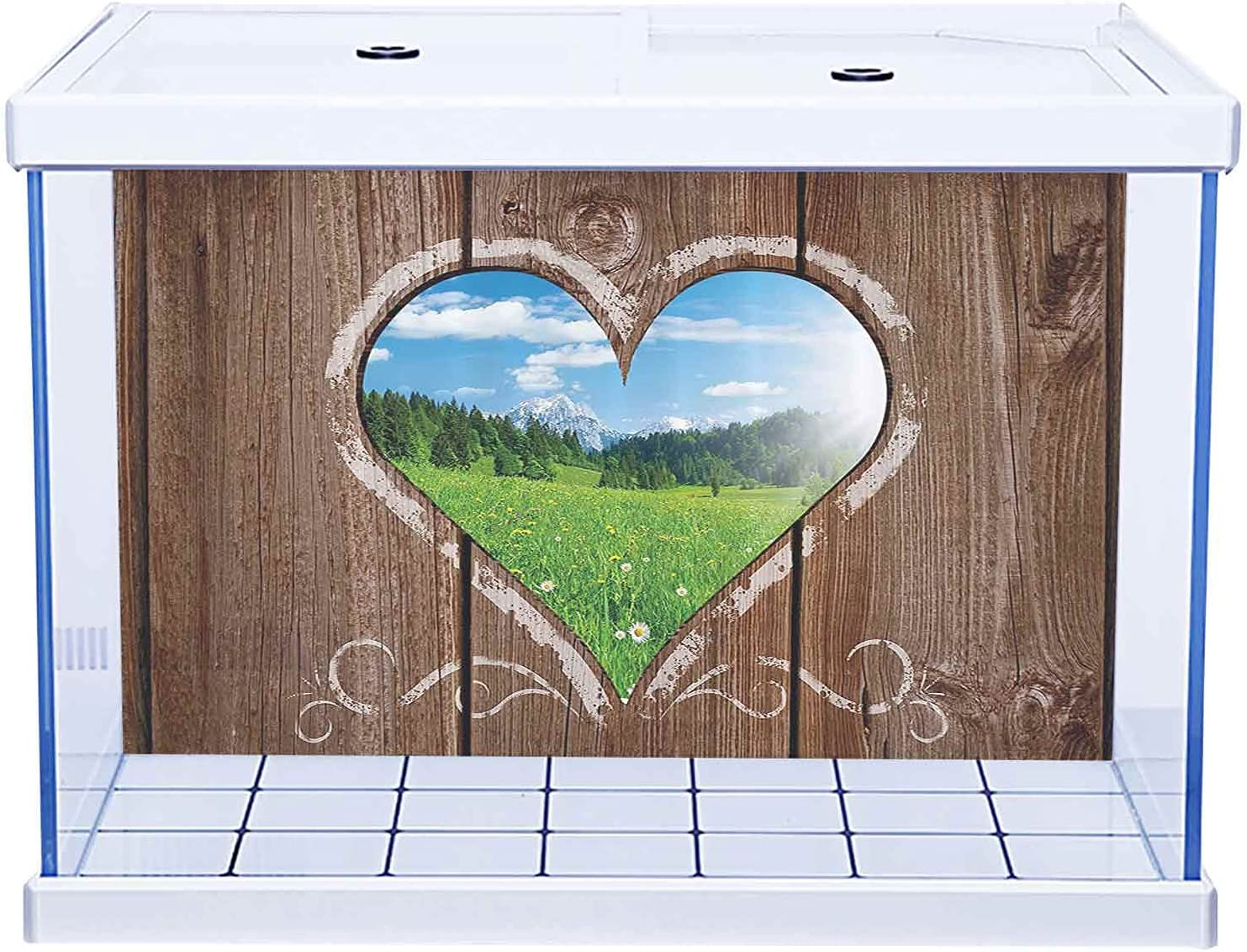 3D Paper Poster Aquarium Background 67% OFF of fixed price Outhouse New sales f Heart View Window