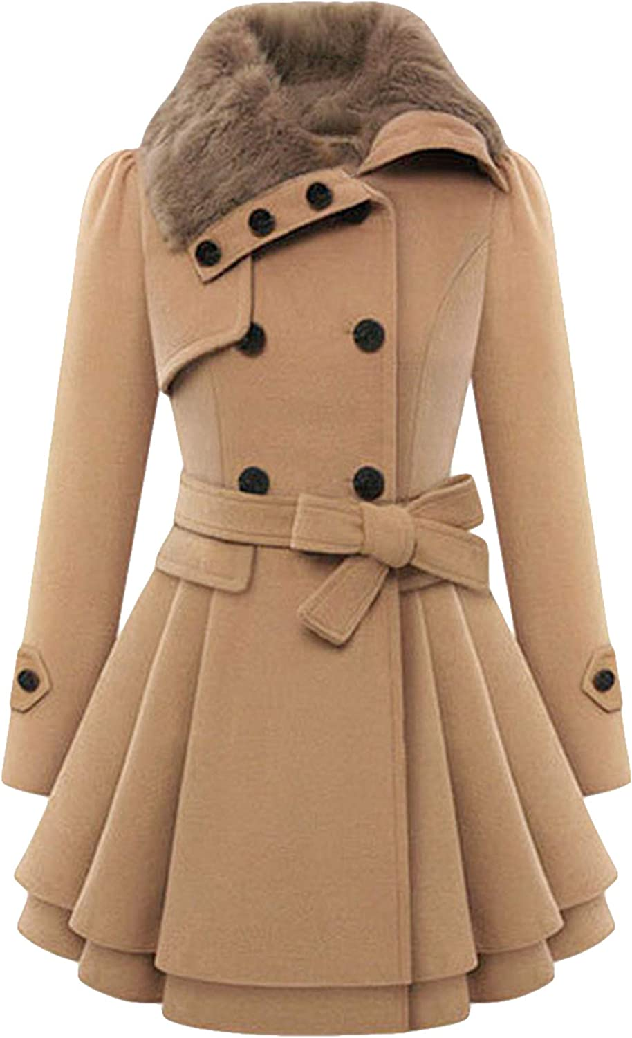 TYQQU Women's Lapel Collar Double-Breasted Hooded Pea Coat Plaid Belted Jackets with Pockets