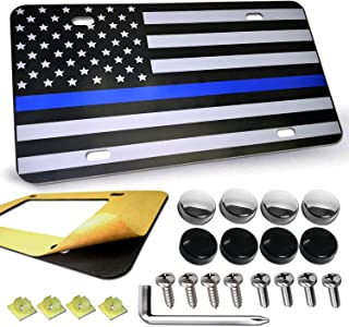 American USA Flag License Plate - Thin Blue Line Matte/Gloss Black Front License Tag Tactical Aluminum Patriotic Car Auto Tag Decoration with Stainless Steel License Plate Screws Anti-Rattle Foam Pad