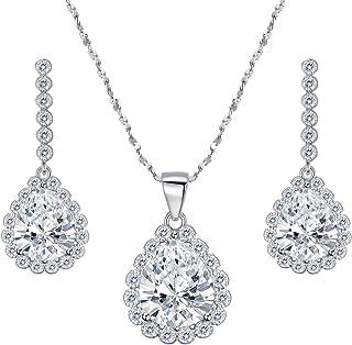 d2a443cc0 EleQueen 925 Sterling Silver Full Cubic Zirconia Teardrop Pendant Necklace  Bridal Drop Earrings Set Clear