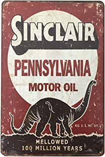 PEI's Retro Vintage Sinclair Motor Oil Tin Sign, Wall Decor for Home Garage Man Cave, 8