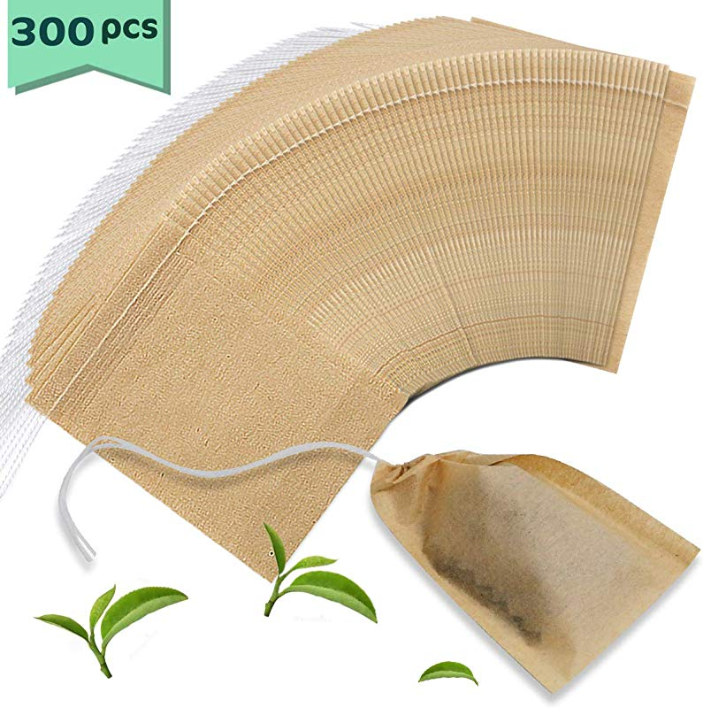Nexxxi 300 Pcs Disposable Tea Filter Bags Unbleached Paper Tea Bag With Cotton Drawstring For Loose Leaf Tea And CoffeeSafe Strong Penetration 2 3 X 3 14
