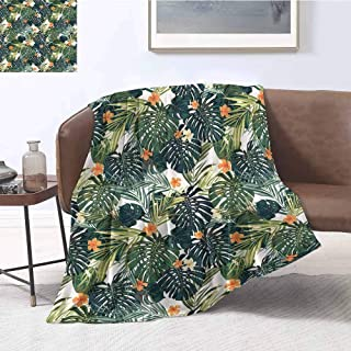 Luoiaax Hawaii Commercial Grade Printed Blanket Colorful Palm Trees Tropical Plants with Botanical Inspirations Queen King W60 x L70 Inch Fern Green Jade Green Orange